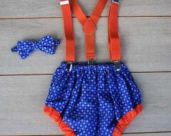 Blue & Orange Spotty Cake Smash Outfit