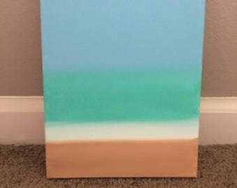 Handpainted beach ombre canvas