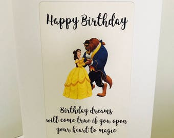 Disney Beauty & The Beast Belle Quote Birthday Greetings Celebration Blank Card