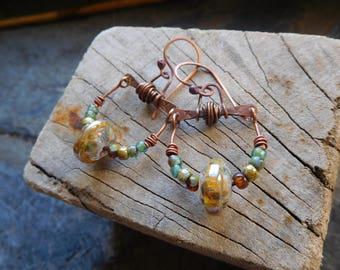 Tribal and rustic earrings, copper, lampwork beads, handmade.