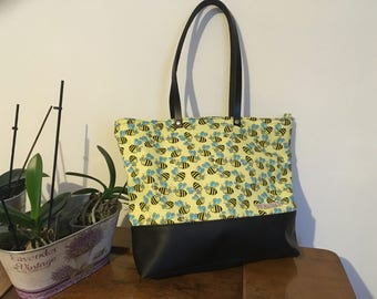 Tot bag in cotton and faux leather fantasy bees