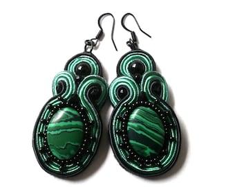 malachite green and black earring