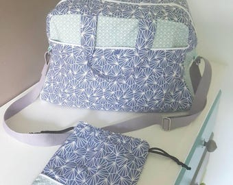 ORDER large diaper bag and pouch blanket, blue green/gray color, adjustable shoulder strap, patterns geometric Scandinavian inspired
