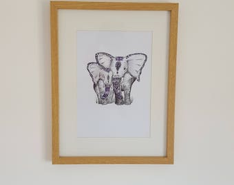 Elephant and baby | Colour | Watercolour | Print