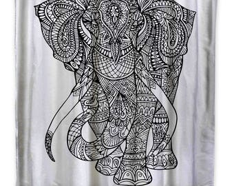 XL Black and White Elephant Shower Curtain-Adult Coloring Book Series