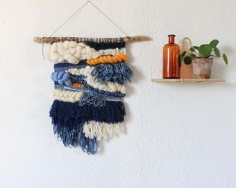 Woven wall hanging spring - wall decor - woven wall hanging blue, yellow gold and ecru