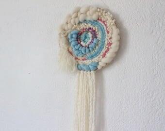 Woven wall hanging - circular weaving Dreamcatcher - Bohemian bead weaving