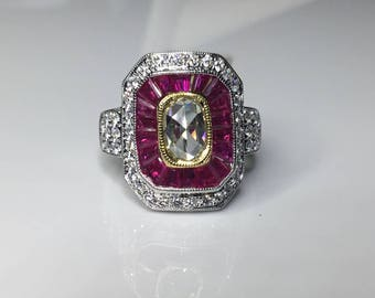 Estate Antique Style 18K White Gold 2.9CTW Ruby & Rose Cut Diamond Ring Size 6.5