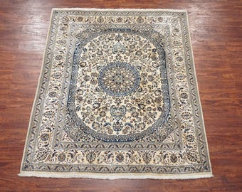 6X8 Wool & Silk Persian Naein Hand-Knotted Oriental Area Rug Carpet (6.5 x 8.2)
