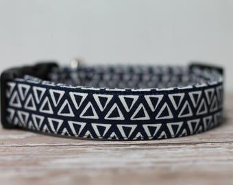 """Indigo Dog Collar / Navy Blue Dog Collar / Geometric Pattern Dog Collar /  Boho Style Collar /  Male Dog Collar / Girl Dog Collar """"The Maia"""""""