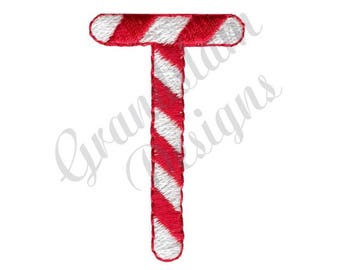 Candy Cane Letter T - Machine Embroidery Design