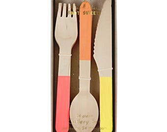 Wooden Cutlery Set - Neon