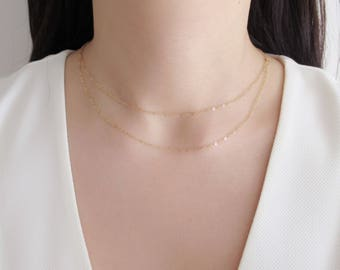 Dainty Layering necklace, double strand necklace, gold filled necklace, dainty necklace, simple necklace