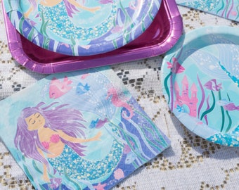 Purple and Blue Mermaid Large Party Napkins/ Purple Mermaid Party Napkins/ Mermaid Napkins