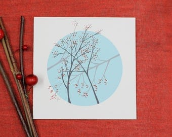 Christmas card - Winter - handmade - Branches and fruits in winter