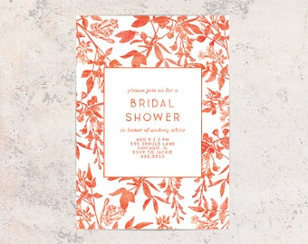 Bridal Shower Invitation, RED AND WHITE Bridal Shower Invitation, Stationary, Floral, Watercolor, Shower Invite,
