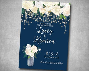 Save The Date Wedding White Cream Navy String Lights Floral Roses Rustic Natural Country String Lights Printable or Printed I customize it