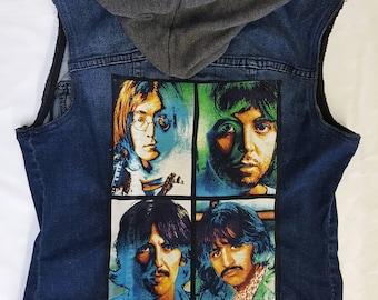 Hooded Beatles denim vest-womens size medium/lrg fit