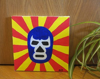 Blue Demon Lucha Libre | Acrylics on Canvas | Mexico | Original Artwork | Luchador | Mexican Wrestling | Limited Edition