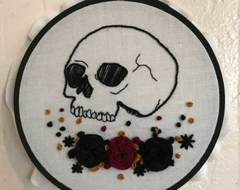 Hand Embroidery Blooming Skull