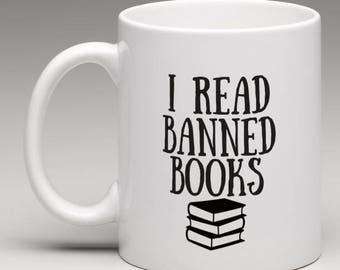 I read banned books mug - Funny mug - book lover - Mug cup - bibliophile