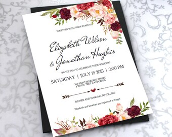 Printable Wedding Invitation Template. Floral Burgundy Rustic Watercolor Invite-DIY Printable Invitations-PDF-Download Instantly   VRD137AFS