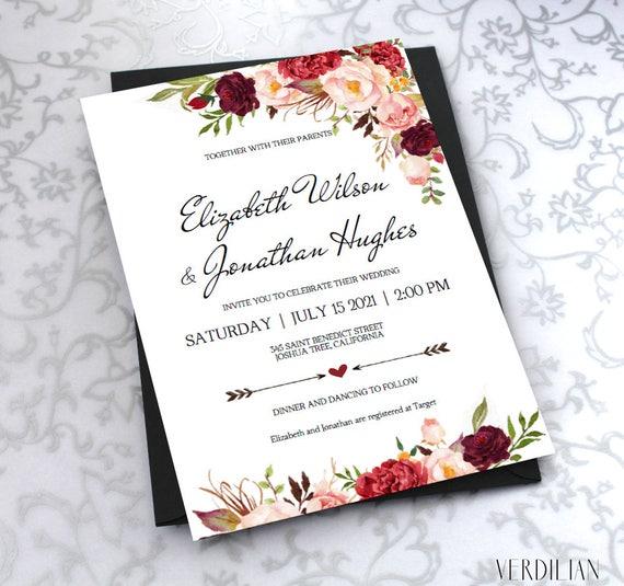 Buy Wedding Invitation Templates: Printable Wedding Invitation Template. Floral Burgundy Rustic