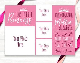 Our Little Princess - Birth Announcement - Digital File