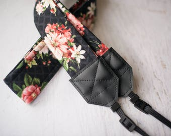floral camera strap, camera accessories, womens gift, dslr camera strap, padded camera strap, womens accessory, photographer gift