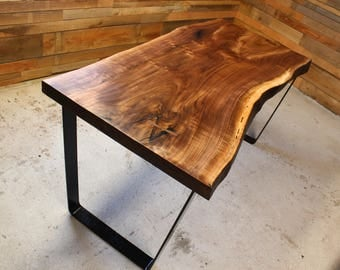Black Walnut Live Edge Wood Slab Table/ Desk   Custom