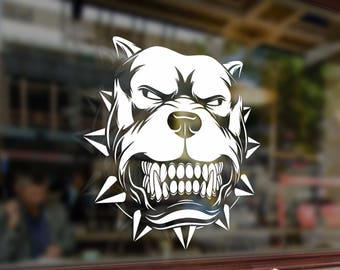 Angry pitbull dog bad boy Vinyl Stickers Funny Decals Bumper Car Auto Computer Laptop Wall Window Glass Skateboard Snowboard Helmet