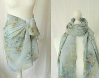 Roses print scarf, Floral print scarf, Chiffon scarf, Scarf for her, Lightweight scarf, Fashion scarf, Shawl, Sarong