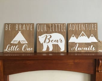 Our little bear, Bear wall sign set, nursery decor, scandi bear, adventure awaits, be brave wall art, large nusery wall art