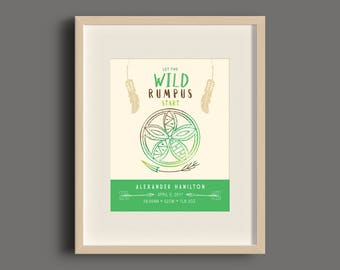 Wild Bohemian Green Brown Birth Announcement Art Print - 8x10 - UNFRAMED