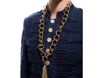 Gold metal chain with tuft of chains and pearls-jewelry-design-chains-pendant