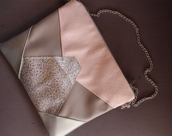 CARLA suede and faux leather taupe clutch, pink blush and silver