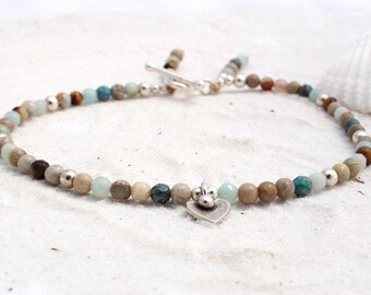 Ladies anklet with hill tribe silver charm, semi precious gemstone ankle bracelet for women, beach wear, anklet with sterling silver balls