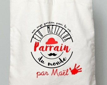 """GODFATHER gift - tote bag """"best Godfather"""" Red"""