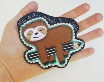 Sloth Badge & Hangie. Personalised with message of your choice to front and back. Age and Name can be added