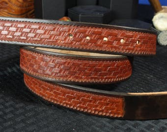 Custom Luxury Leather Belt with Basket Weave Pattern