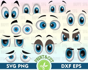 Color Cartoon Eyes Digital, Eyes Download, Eyes Clipart, Eyes Decal, Eyes SVG, Eyes Silhouette Svg, Eyes Vector, SVG Cutting File Bundle Svg