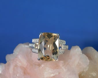 5.54 ct. Cushion Cut Citrine and White Topaz Sterling Silver Ring