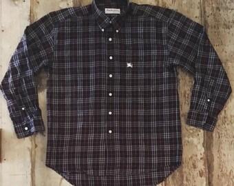 Vintage Burberry Plaid Button Down Shirt