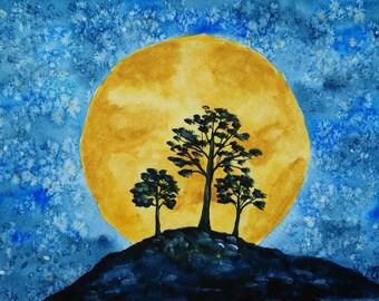 Original painting Moon Watercolor