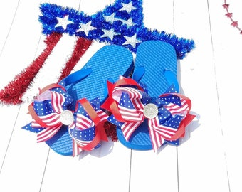 4th of July Flip Flops, Girls Patriotic Flip Flops, Cute Girls Sandals, Red White Blue Sandals, July 4th Flip Flops, 4th of July accessories
