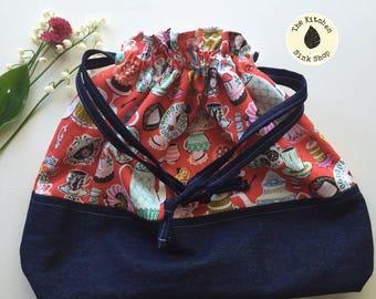 WONDERLAND Drawstring Project Bag | Cotton | Alice in Wonderland | Queen of Hearts |  Red | Denim | Cards | Tea Party