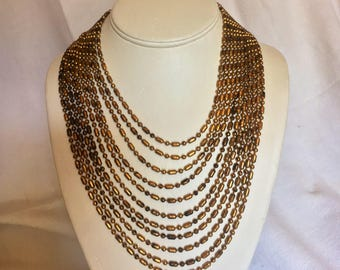 Art Deco Vintage Multi-Strand Gold Toned Brass Beans and Franks Choker Necklace