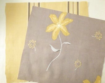 SET OF 7 FALLS FABRICS COLOR BROWN, BEIGE, OCHER