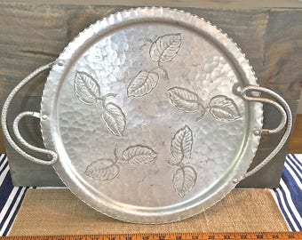 Hammered Aluminum Serving Tray- Vintage