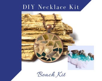 Jewelry Making Kit Glass Mosaic Necklace Activity, Complete kit to make one necklace, Beach Colors with sea shells, DIY Craft Kit